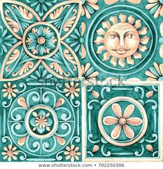 ornaments on the tiles watercolor, pain, Italy Majolica, floral ornament Stitch Games, Stencil Decor, Flowery Wallpaper, Tile Crafts, Decoupage Vintage, Antique Paint, Art Mural, Hand Painted Ceramics, Dot Painting