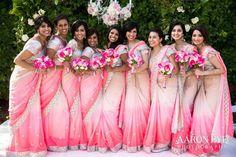 Color coordinated Wedding Guests & Friends: Pick your Wedding Day Color ! Indian Bridesmaid Dresses, Bridesmaid Saree, Bridesmaid Outfit, Indian Dresses, Wedding Dresses, Indian Wedding Bridesmaids, Saris, Designer Sarees Wedding, Lehenga Wedding
