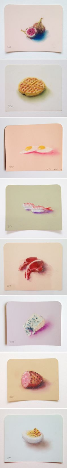 pastel drawings on martha stewart paint chips... work by mie yim <3