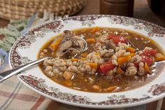 Beef Barley Soup Recipe With Ground Beef.Comforting Beef And Barley Soup The Healthy Foodie. Beef Barley Soup One Pot One Pot Recipes. Home and Family Beef Soup Recipes, Chili Recipes, Cooking Recipes, Healthy Recipes, Beef Soups, Yummy Recipes, Barley Recipes, Recipies, Cooking Pork