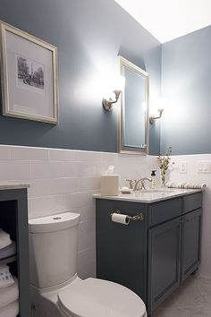 Contemporary Full Bathroom - half wall with tile