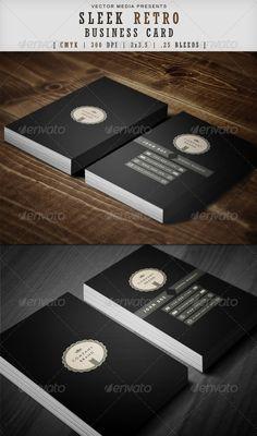 Sleek Retro - Business Card ...  black, business, business card, card, clean, corporate, creative, design, elegant, identity, minimalist, modern, print, retro, sleek, sleek retro, vector media, vectormedia, vintage