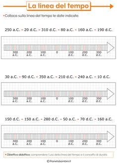 La Linea del Tempo: Schede Didattiche per la Scuola Primaria | PianetaBambini.it Back To School, Homeschool, Teaching, Education, History, Math Activities, Geography, Alphabet, School