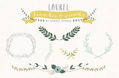 Vintage Laurel & Wreath design elements - for personal or photography use - INSTANT DOWNLOAD