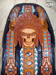 Native Themed Graphics on a Heritage Fender Bib Tooled Leather, Leather Tooling, Motorcycle Seats, Custom Leather, Motorcycle Accessories, Bibs, Graphics, Crafts, Manualidades