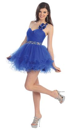One Shoulder, Short, Beaded Waist, Flared Skirt, Party Dress. What hairstyle would you wear with this flirty number? Dama Dresses, Prom Dresses 2015, Quince Dresses, Grad Dresses, Event Dresses, Short Dresses, Bridesmaid Dresses, Royal Blue Prom Dresses, Formal Dress Shops
