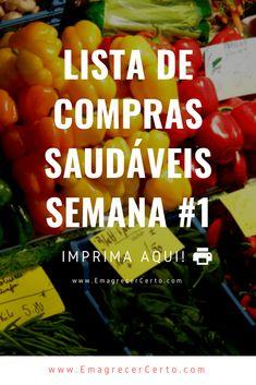 Listas de compras saudável - Blog Emagrecer Certo Low Carb Keto, Meal Prep, Paleo, Healthy Recipes, Meals, Vegetables, 1, Food, Bolo Chocolate