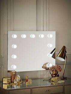 Hollywood Mirror Wall Mounted Landscape | Makeup Mirror with Lights | Dressing Table Mirror with Lights | Vanity Mirror with Lights | Illuminated Makeup Mirror | Holllywood Mirror UK | Light Up Makeup Mirror | Hollywood Mirrors | Mirror Size 60 X 80cm | https://www.hollywoodmirrors.co.uk/products/hollywood-mirror-with-light-bulbs-around-it