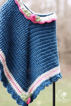 Retro-Style Poncho and Hat Set for Toddler or Young Girl.    Perfect Easter or spring/summer birthday gift for your daughter, granddaughter, neice or that special little girl in your life.    Would also make an excellent photography prop!    Made to order in color-scheme of your choice. Please allow 2-3 weeks to complete and ship.    Hand crafted of machine washable and dryable acrylic yarn. Retro style poncho and hat with an updated color-scheme.    FREE shipping within the United States.