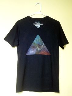 Black Classic style V-neck T-shirt with Galaxy Triangle design. $15.99, via Etsy.