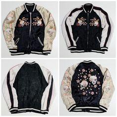 Vintage Japanese Script Skull Cherry Blossoms Sakura Punk Rock Embroidery Sukajan Souvenir Jacket - Japan Lover Me Store