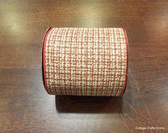 "Wired Ribbon Burlap Style 4""  Red Green Cream Tweed Print THREE YARDS d.stevens. $7.95, via Etsy."