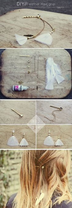 teahab: DIY// Feather and Chain Hairgrip