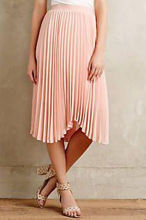 Scalloped Pleats Midi Skirt