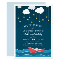 Set Sail | Kids Birthday Party Invitation - birthday invitations diy customize personalize card party gift