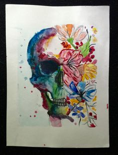 Hand-painted watercolor skull and flowers. Inspired by Dia Del Los Muertos, and…