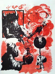 Vrij naar Faust van Rembrandt-grafiek