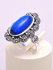 AS 925 Silver Jewelry Elegant blue corundum rin... – USD $ 35.69