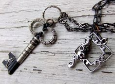 Wire wrapped skeletion key #necklace! @Etsy! #handmade #silver #wire #key