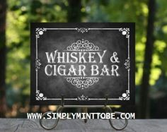 "Jack Daniels Inspired Whiskey and Cigar Bar Sign Poster Chalkboard Graphic Print  Designs by Elle would love to create your ""Jack Daniels Inspired Whiskey and Cigar Bar Sign Poster Chalkboard Graphic"" for your Themed Party!  This lovely do it yourself chalkboard graphic poster would be an AWESOME addition to your Jack Daniels Theme!  Great idea for all events and occasions such as Bachelor Parties, Birthdays, Weddings and Corporate Events.   If you would like to make slight changes to the…"