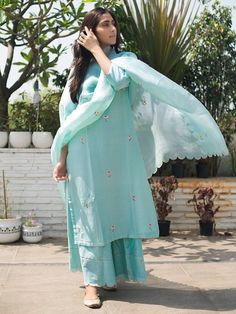 Mint Green Hand Embroidered Chanderi Silk Kurta with Scalloped Palazzo and Organza Silk Dupatta - Set of 3 Designer Party Wear Dresses, Kurti Designs Party Wear, Indian Designer Outfits, Indian Attire, Indian Ethnic Wear, Indian Outfits, Indian Dresses, Embroidery Suits Punjabi, Embroidery Suits Design