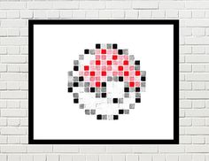 Pokemon pokeball, pokeball art, pokeball poster, pokeball print, pokemon art, pokemon poster, pokemon print, game art, video game, pokeball pixel art by PixelDesignsUP