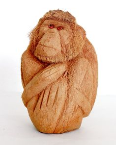 Exclusive monkey Figurine  Hand Coconut wood carved from by ICMCM