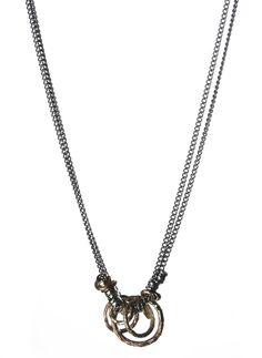 Harakiri - Fall Winter 2014 - Menswear  // Multi Rings Necklace Frayed Bronze Men's Jewelry