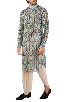 Featuring a charcoal blue kurta in muslin satin silk with geometric mughal print all over, paired with peach draped dhoti pants in cotton silk. Mens Kurta Designs, Indian Fashion Designers, Pernia Pop Up Shop, Mandarin Collar, Cotton Silk, Designer Wear, Prints, How To Wear, Clothes