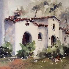 """La Quinta Arches"" original watercolor by Julie Hill (6"" x 6"")"