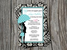 Black Damask Sprinkle Blue Baby Shower Invitation Card  - You Print. $12.00, via Etsy.