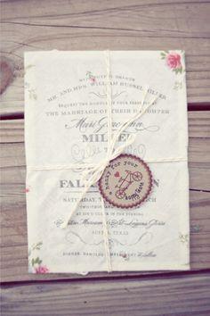 "Antique handkerchief invitations for ""tears of joy""!!!! Adorable!"