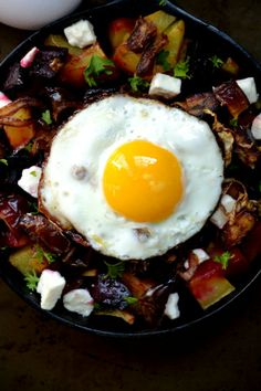 Bakeaholic Mama: Perfect Sunny Side Up Egg and Roasted Potato and Beet Hash With Goat Cheese
