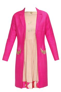 Blush pink embroidered fish motifs dress and hot pink trench coat set available only at Pernia's Pop Up Shop. #
