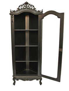 Small Black Display Cabinet   ... Furniture 'Helena' Glass Display Corner Cabinet Armoire Black   eBay