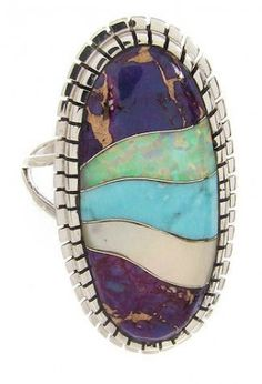 Southwest Jewelry | Multicolor Jewelry | Multicolor Inlay | Ring Size 7-1/2 http://www.silvertribe.com