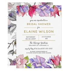 blush pink and purple floral spring bridal shower card - bridal shower gifts ideas wedding bride