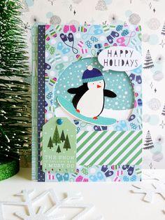 Pebbles - Winter Wonderland - Snowboarding Penguin card