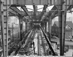 Construction of Circular Quay Railway Station in Sydney (year unknown) Union Jack, Brooklyn Bridge, Sailing, Construction, In This Moment, History, Travel, Image, Aussies