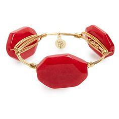 Bourbon and Boweties Stone Bracelet ($34) ❤ liked on Polyvore featuring jewelry, bracelets, braceletes, red, red jewelry, red bangles, polished stone jewelry, stone bangles and handcrafted jewelry