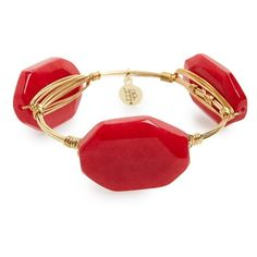 Bourbon and Boweties Stone Bracelet ($34) ❤ liked on Polyvore featuring jewelry, bracelets, red, red bangle bracelet, handcrafted jewellery, stone bangles, red jewelry and studded jewelry