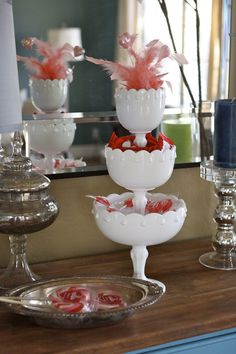 3-tier's of milk glass. I have 2 of these.