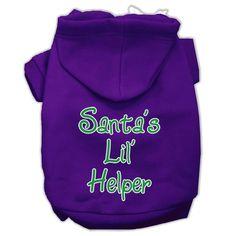 Santa's Lil' Helper Screen Print Pet Hoodies Purple Size Sm (10)
