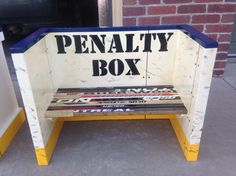 Hockey Room - Penalty Box from old hockey sticks! Hockey Crafts, Hockey Decor, Sports Bar Decor, Hockey Bedroom, Hockey Nursery, Time Out Chair, Hockey Mom, Hockey Stuff, Hockey Man Cave