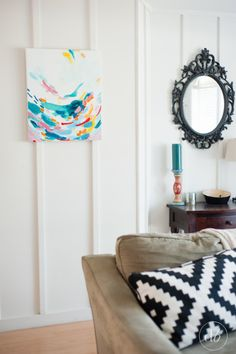 A beautiful acrylic abstract painting made by Dwell Beautiful as part of the #monthlyDIYchallenge with paint as the theme. Check out this piece of art and all the other decor and design pieces in this challenge by heading to Dwell Beautiful!