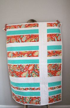 Bright Paisley Baby Quilt in Aqua Blue Pink by MouseAndMeDesign, $150.00. Played with the quilting on this one - each fabric has a different quilting pattern.