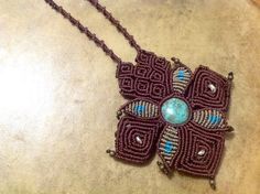Chrysocolla in macrame semi precious stone necklace: