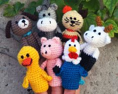 Farm Animals For Kids, Barnyard Animals, Amigurumi Patterns, Crochet Patterns, Finger Puppet Patterns, Farm Toys, Crochet Home Decor, Hand Puppets, Toddler Toys