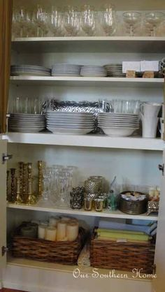 Dining Room Organization {China Cabinets} - Our Southern Home Pantry Laundry Room, Kitchen Pantry, Kitchen Storage, Kitchen Dining, Dining Room, China Storage, Dish Storage, Kitchen Organisation, Room Organization