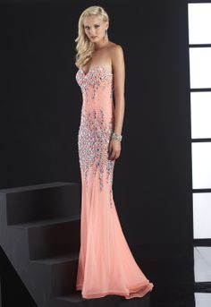 Jasz Couture Coral Beaded Gown